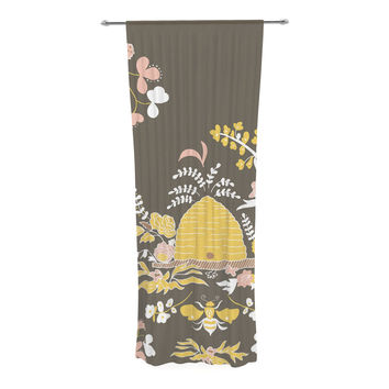 "Very Sarie ""Hope for the Flowers II"" Yellow Brown Decorative Sheer Curtain"