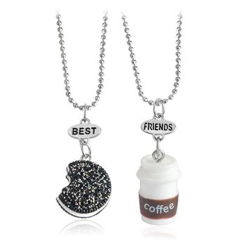 2pcs/set Miniature Oreo Biscuits & Coffee Pendant Necklace For Women Men Best Friends BFF Birthday Gift Food Friendship Jewelry