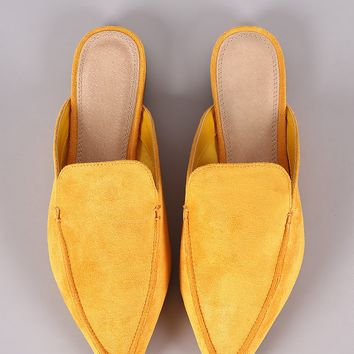 Suede Pointy Toe Mule Loafer Flat