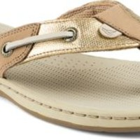 Sperry Top-Sider Seafish Metallic Sandal Linen/Gold, Size 9.5M  Women's Shoes