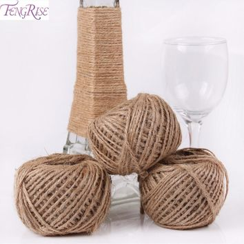 FENGRISE Burlap Jute Twine 50Y Natural Sisal Rope Wedding Decoration Rustic Wrap Gift Packing String Party Decoration Christmas