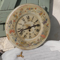 Original vintage tole clock. French antique tole clock. French vintage clock. Antique wall clock. Rustic. Shabby chic. Large wall clock.