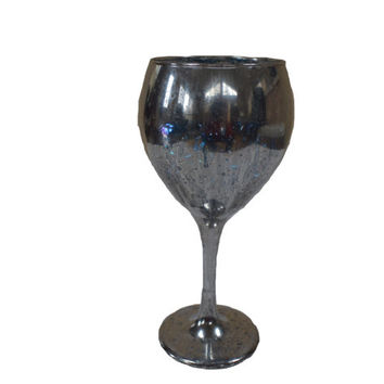 Silver Goblet, Mercury Glass Vase, Table Decor, Centerpiece, Anniversary Gift, Wedding, Silver Vase, Mother's Day, Floral Accent