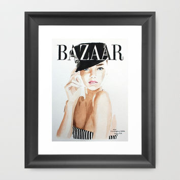 Harper's Bazaar Magazine Cover. Miranda Kerr. Fashion Illustration Framed Art Print by Feeling Artsy