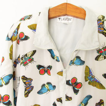 Vintage 1990s All Over Butterfly Print Silk Bomber Jacket