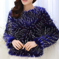 Casual Round Neck Long Sleeve Faux Fur Pullover