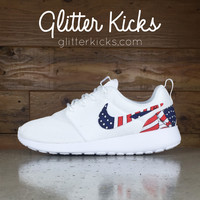 Nike Roshe One Customized by Glitter Kicks - WHITE / WHITE / AMERICAN FLAG PRINT