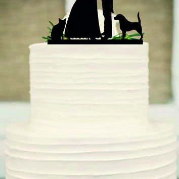 bride and groom silhouette wedding cake topper,funny cake topper,rustic wedding cake topper,unique wedding cake topper,cat, dog cake topper