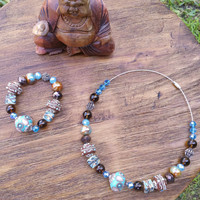 Glam Collection - One of a kind Brown Blue Precious Beaded Set Both Items Hand Made