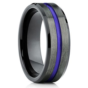 Purple Tungsten Wedding Band - Purple Ring - Gunmetal Tungsten Ring