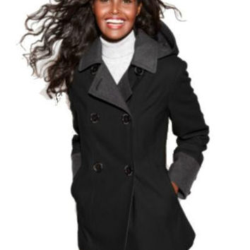 Nautica Coat, Hooded Colorblock Pea Coat