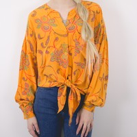 Vintage Orange Paisley Tie Up Blouse