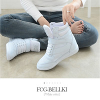 Ankle boots heels shoes women casual Sneakers height increased wedges shoes high top mixed color