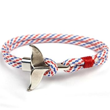 Fashion Whale Tail Anchor Bracelets Unisex Watersports Gift ✈ Worldwide Delivery