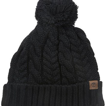 Timberland Women's Cable Knit Design Watch Cap Hat with Pom, Black, One Size
