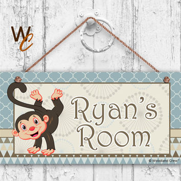 "Nursery Sign, Monkey Boys Room Sign, Blues and Browns Personalized Sign, Kid's Name, Door Sign, Nursery Art, 5"" x 10"" Sign, Made To Order"