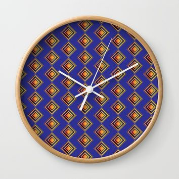 Geometric Blue and Golden Shapes Pattern Wall Clock by Paula Oliveira