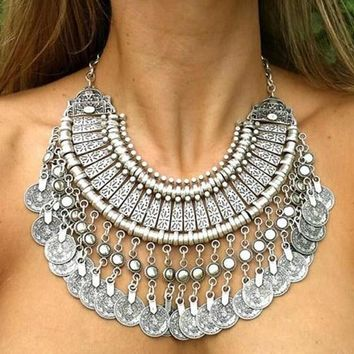 Gypsy Bohemian Beachy Coin Statement Bib Necklace Festival Turkish India Tribal Js (color: Silver Gray) = 1928755204