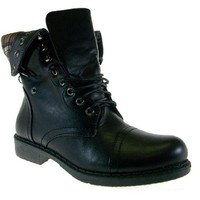 Women's First Sight Quilted Flannel Lined Combat Lace Up Boots Vancover04 Black