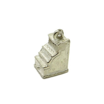 Vintage Cash Register Charm, Sterling Silver 3D Charm Pendant