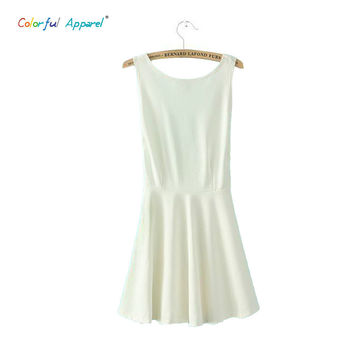 HOTWOMEN 2015 Europe and American Fashion Sexy Backless Dresses Amphibious Apparel Wear Sleeveless Mini Dress HW158B7A