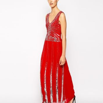 Maya Embellished Maxi Dress - Red