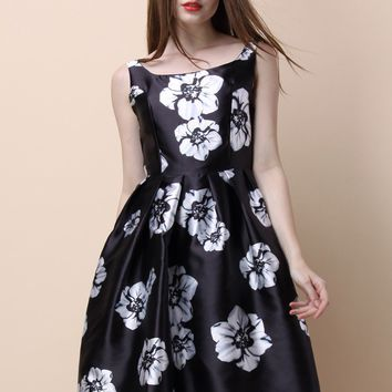 Contrast Floral Print Prom Dress