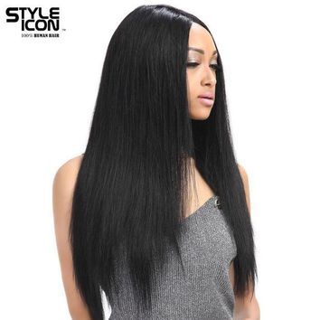 DCCKWJ7 Styleicon Wig Lace Front Human Hair Wigs For Black Women Brazilian Remy Straight Lace Wig 10-24 Inch Free Shipping