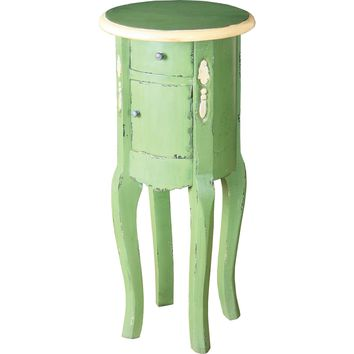 End Table French Green Cream Painted Finish on Solid Mahogany