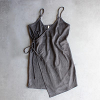 faux suede wrap cami dress