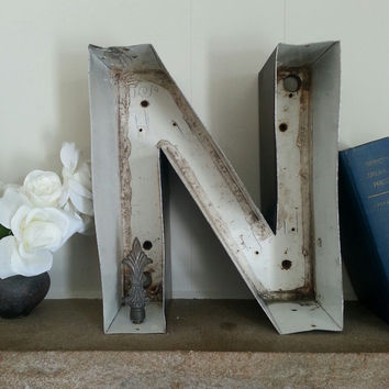 Salvaged Reclaimed Marquee Sign Letter capital N - metal channel