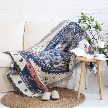 Bohemian Cotton Knitted Thread Blanket, Ombre Indian Mandala Hippie Tapestry Wall Hanging Bedspread Throw Decor Art Sonia Rykiel