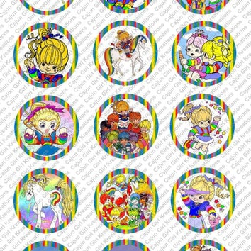 """Rainbow Brite 1"""" Round Circles Bottle Cap Images Cupcake Toppers Instant Download Digital Emailed 4x6"""