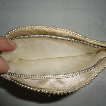 Beaded Vintage Creamy White Ladies Gift Floral Seed Bead Hand Clutch Evening Dancing Purse