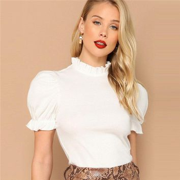 Beige Frill Neck Puff Sleeve Slim Plain Tee Office Lady Elegant Stand Collar Short Sleeve Solid Women Tshirt