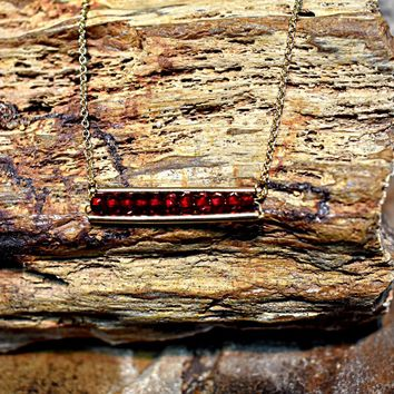 Red Jeweled Bar Necklace