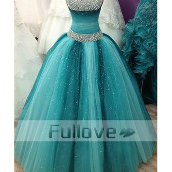 Sky Blue Crystal Prom Dress Long 2017 Beaded Pleat Ball Gown Formal Party Dresses Quinceanera Gown Vestidos De Fiesta Abiye