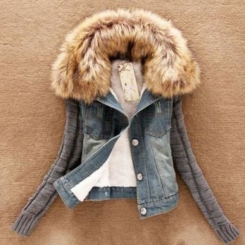 CREYUG3 woman winter coat with fur collar cotton long sleeve  denim jacket = 1930099268