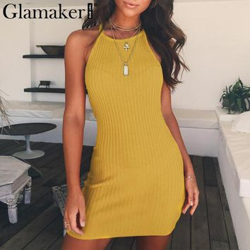 Glamaker Elegant knitting summer dress Women halter beach mini dress Vintage backless bodycon sundress evening party vestidos