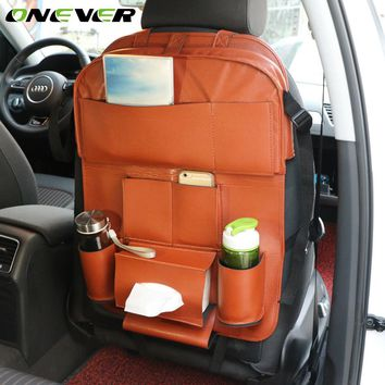 Onever Auto Car Seat Back Storage Bag Organizer Car-styling Back Seat Protector Food Tray Table Tablet Holder Multi-function Bag