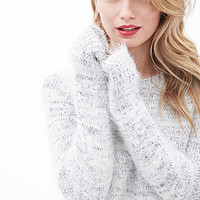 LOVE 21 Marled Eyelash-Knit Sweater Ivory/Black