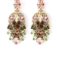 Pink and Green Crystal Leaf Motif Drop Earrings by Anton Heu