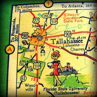 vintage map TALLAHASSEE print 12x12 FLORIDA photograph illustrated cartoon picture retro state university fsu wall art travel beach house