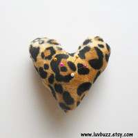Heart Shaped Pincushion in Leapard Print, ready to ship.