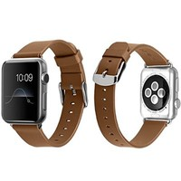 Apple Watch Band, J&D 38mm Genuine Leather Strap Wrist Band Replacement w/ Metal Clasp Adapter for Apple Watch All Models 38mm (Normal Size - Leather Brown)