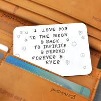 Credit card, Hand Stamped, Father's Day gifts, Men's Gift, women's gift, gifts for him, wedding gifts, moon and back,bookmark, infinite love
