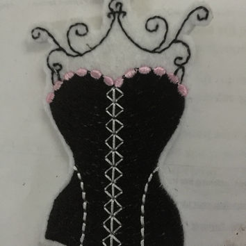 Black Lingerie Patch Pretty Pink and Black Corset Patch Bridesmaid Gift