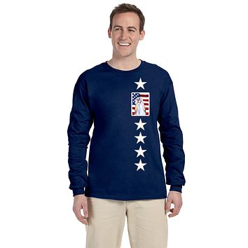 USA American Flag with Shih Tzu Long Sleeve Blue Unisex Tshirt Adult Double Extra Large SS4221-LS-NAVY-2XL