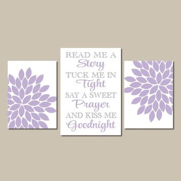 Read Me a Story, BABY GIRL NURSERY Wall Art, Canvas or Prints Kiss Me Goodnight, Girl Quote Decor, Flower Burst Set of 3 Nursery Decor