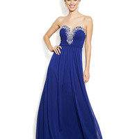 Joanna Chen Strapless Embellished Sweetheart Gown
